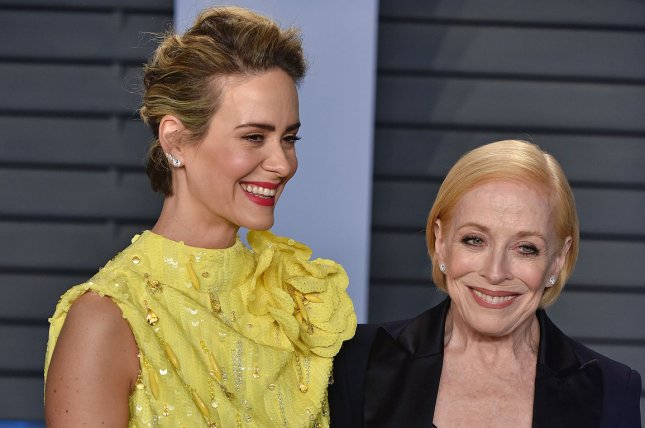 Sarah Paulson (L), pictured with Holland Taylor, recalled how she connected with the actress on Twitter. File Photo by Christine Chew/UPI