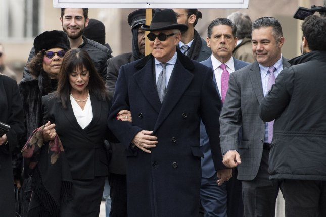 Roger Stone, a former campaign adviser to President Donald Trump, arrives for a sentencing hearing at the E. Barrett Prettyman Courthouse in Washington, D.C., on February 20. Stone was ultimately sentenced to 40 months in prison after the Justice Department intervened in the case and superseded an initial recommendation of between seven and nine years. File Photo by Kevin Dietsch/UPI