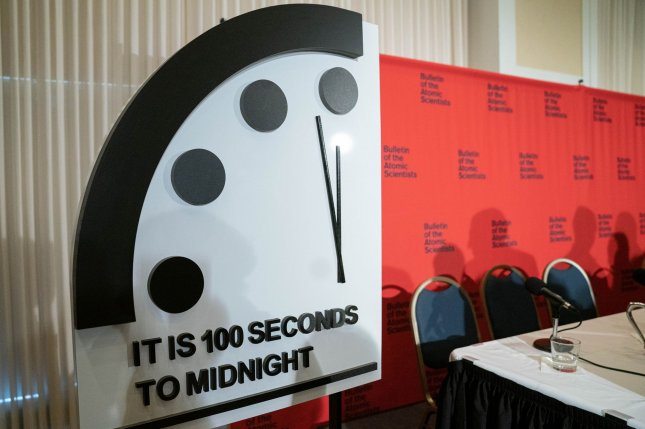 The Bulletin of Atomic Scientists kept its Doomsday Clock at 100 seconds to midnight, describing the COVID-19 pandemic as a wakeup call that governments are unprepared to handle grave threats facing the world. File Photo by Ken Cedeno/UPI