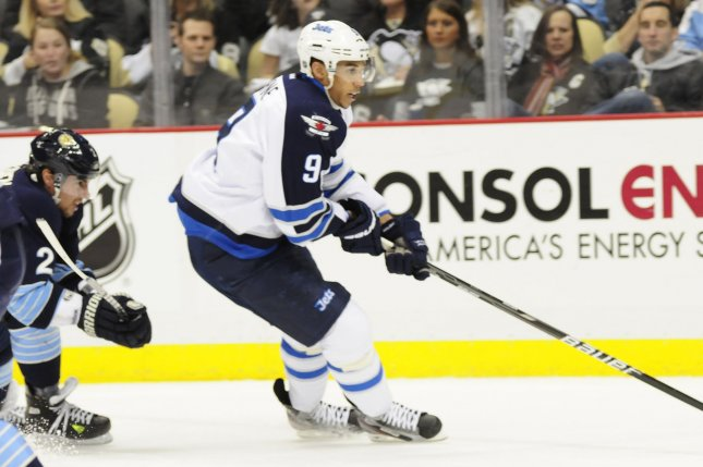 Former Winnipeg Jets forward Evander Kane, shown Feb. 11, 2012, joined the San Jose Sharks during the 2017-18 season. He recorded 22 goals and 27 assists last season. File Photo by Archie Carpenter/UPI