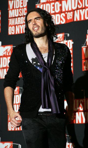 Russell Brand arrives in the press room for the MTV Video Music Awards at Radio City Music Hall in New York on September 13, 2009. UPI/Laura Cavanaugh