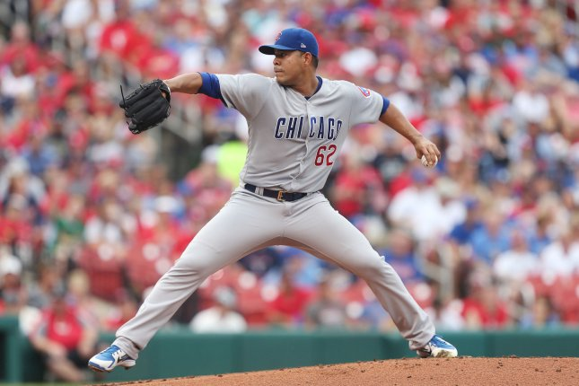 Chicago Cubs starting pitcher Jose Quintana delivers a pitch to the St. Louis Cardinals in the first inning on July 28, 2018 at Busch Stadium in St. Louis. Photo by Bill Greenblatt/UPI