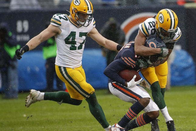 Green Bay Packers cornerback Kevin King (20) defends against Chicago Bears wide receiver Dontrelle Inman (17) during the second half on November 12 at Soldier Field in Chicago. Photo by Kamil Krzaczynski/UPI
