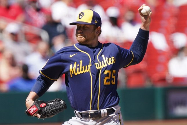 Milwaukee Brewers starting pitcher Brett Anderson throws a pitch in the third inning Sunday at Busch Stadium in St. Louis. Photo by Bill Greenblatt/UPI
