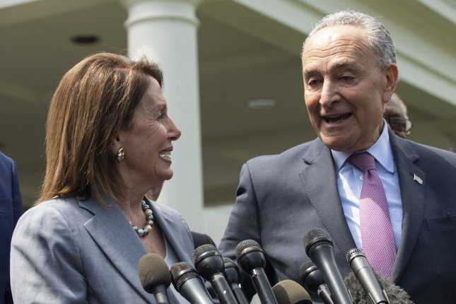 Speaker of the House Nancy Pelosi and Senate Minority Leader Chuck Schumer speak at the White House on April 30, 2019. Schumer said Wednesday he will bring a bill that repeals Iraq War authorization to a vote. File photo by Pat Benic/UPI