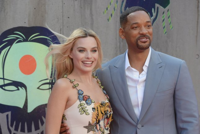 Australian actress Margot Robbie and American actor Will Smith attend the premiere of Suicide Squad in London on August 3, 2016. Photo by Rune Hellestad/ UPI