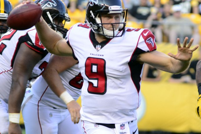 Former Atlanta Falcons quarterback Alek Torgersen (9) throws to the right in the fourth quarter against the Pittsburgh Steelers on August 20, 2017 at Heinz Field in Pittsburgh. Photo by Archie Carpenter/UPI