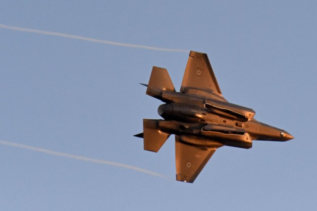 An Israeli Air Force F-35 performs during a graduation ceremony of Israeli Air Force pilots at the Hatzerim Air Force base in the Negev Desert, Israel, in June. File Photo by Debbie Hill/UPI