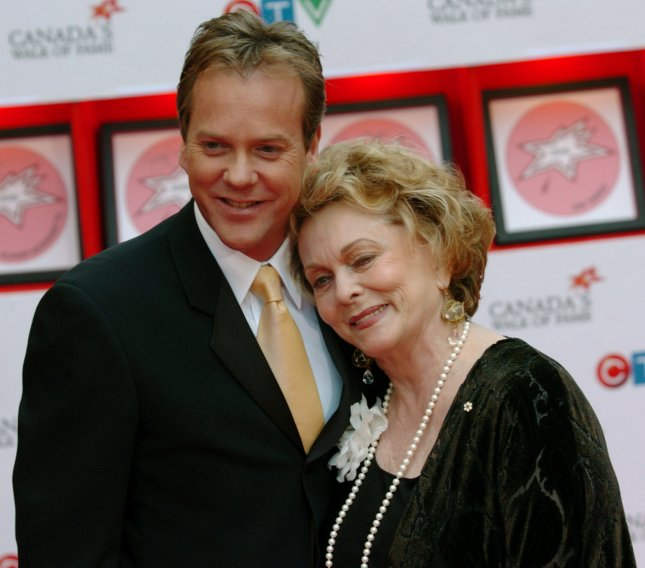 Shirley Douglas has died at age 86. She is seen here with her son, actor Kiefer Sutherland, in Toronto in 2005. File Photo by Christine Chew/UPI