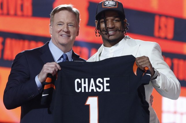 NFL commissioner Roger Goodell (L) poses for a photo with Ja'Marr Chase, the No. 5 overall pick by the Cincinnati Bengals in the 2021 NFL Draft on Thursday in Cleveland. Photo by Aaron Josefczyk/UPI