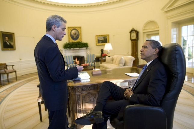 U.S. President Barack Obama meets with White House Chief of Staff Rahm Emanuel in the Oval Office at the White House on his first full day in office in Washington on January 21, 2009. (UPI Photo/Pete Souza/White House Press Office)