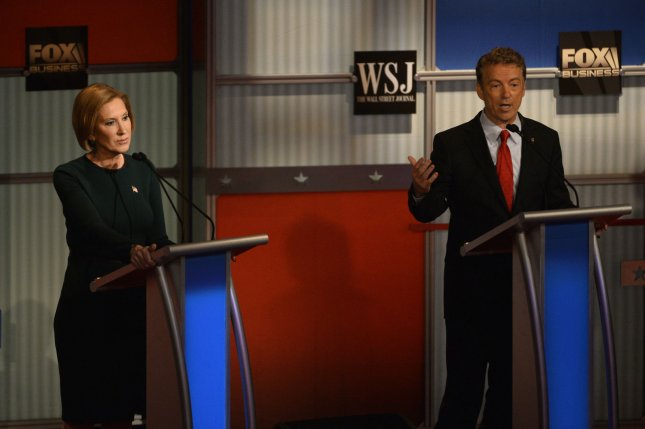 ABC announced changes to the rules for the next Republican presidential debate that could limit the number of candidates on stage to six. If the new criteria was applied today, presidential hopefuls Kentucky Sen. Rand Paul and former HP CEO Carly Fiorina, seen above at the fourth debate in November, would be eliminated. Photo by Brian Kersey/UPI