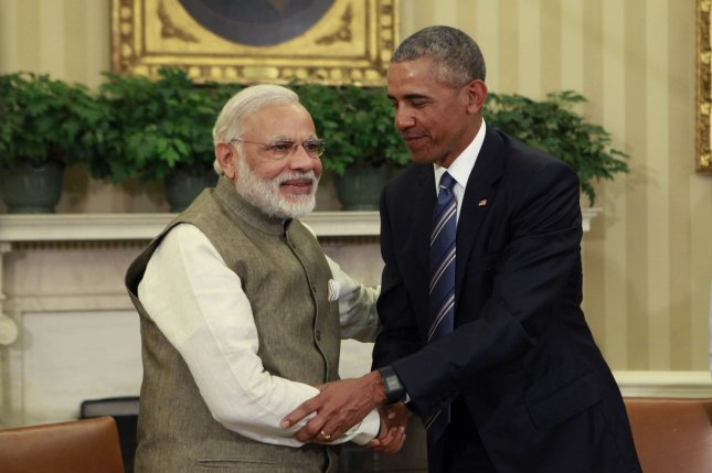 President Barack Obama and Indian Prime Minister Narendra Modi meet in the Oval Office of the White House to discuss several issues -- including India's support for COP21, the controversial climate change reform agreement reached in Paris six months ago -- on Tuesday, June 7, 2016. Pool Photo by Dennis Brack/UPI
