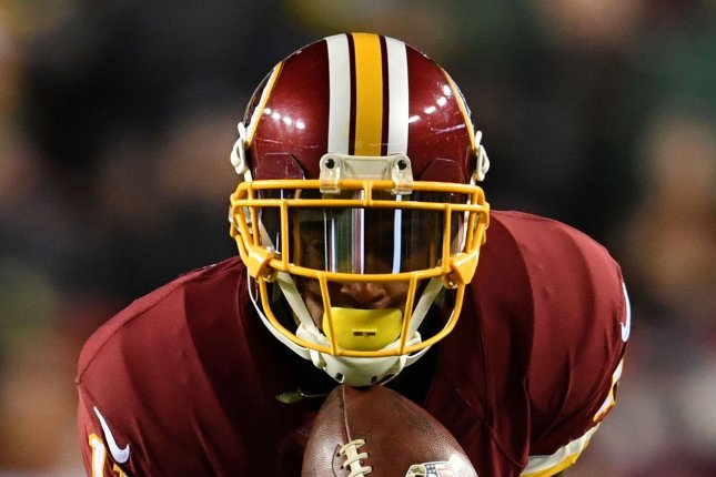 Washington Redskins wide receiver DeSean Jackson (11) brings in a pass against the Green Bay Packers at FedEx Field in Landover, Maryland on November 20, 2016. Photo by Kevin Dietsch/UPI