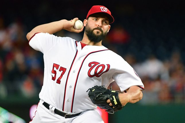 Washington Nationals starting pitcher Tanner Roark (57) pitches against the Seattle Mariners in the second inning at Nationals Park in Washington, D.C. on May 24, 2017. Photo by Kevin Dietsch/UPI