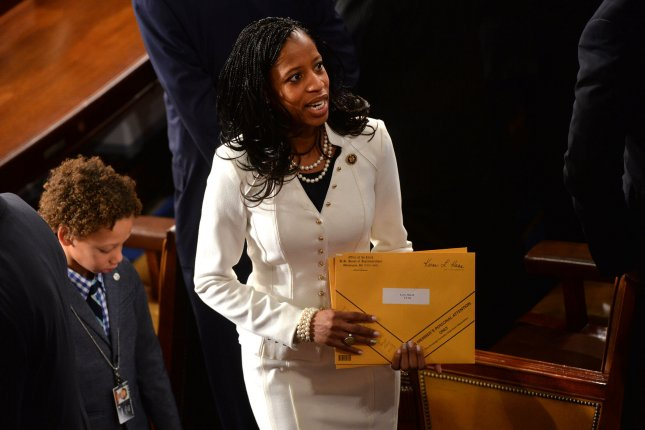 Rep. Mia Love, R-Utah, is seen on the first day of the 114th Congress inside the House Chambers of the U.S. Capitol Building in Washington, D.C. on January 6, 2015. On June 26, Love proposed an amendment that would allow lawmakers to use taxpayer funds to pay for private home security systems. The amendment passed with support from both parties. File Photo by Kevin Dietsch/UPI
