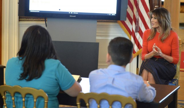 First lady Melania Trump makes remarks as she attends a listening session with local middle school children in the Blue Room at the White House Monday. Photo by Mike Theiler/UPI
