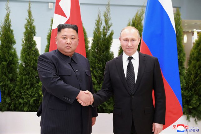Russian President Vladimir Putin meets with North Korean leader Kim Jong Un in  an April image released by the North Korean official news service. File Photo courtesy of KCNA