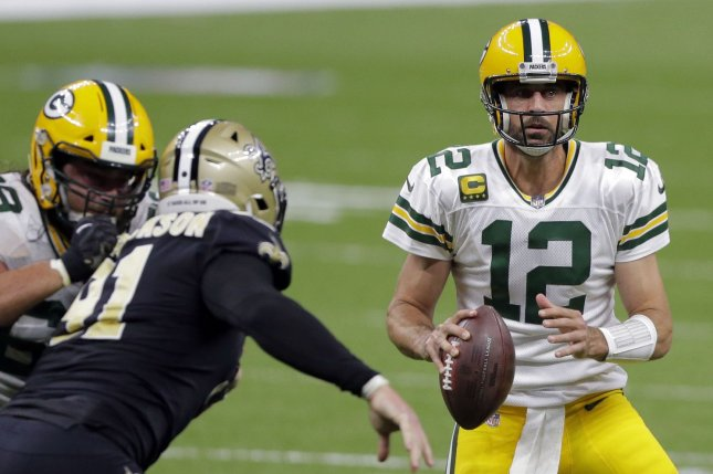 Green Bay Packers quarterback Aaron Rodgers (12) has nine touchdown passes and zero interceptions this season after another three-touchdown performance Sunday in New Orleans. Photo by AJ Sisco/UPI
