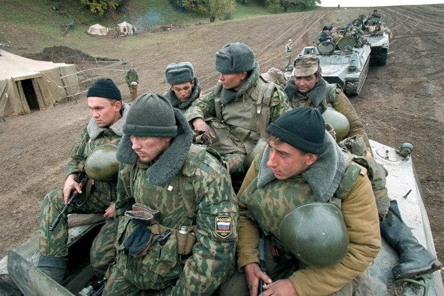 Russian troops move to positions near Bamut, about 60 kilomoters ( 35 miles) west of Grozny, on Tuesday, November 2, 1999. On August 9, 2015, one soldier was reported to have been killed and two injured by a homemade explosive device during a reconnaissance operation in the region. File photo by Maxim Marmur/UPI