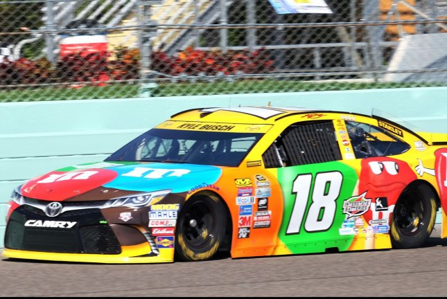 NASCAR Nationwide Series Championship driver Kyle Busch (18) is seen taking his first practice session for the Ford EcoBoost 400 at the Homestead-Miami Speedway in Homestead, Florida on November 18, 2016. Photo By Gary I Rothstein/UPI