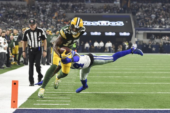 Green Bay Packers wide receiver Davante Adams (17) is stopped short of the goal by Dallas Cowboys cornerback Morris Claiborne (24) in the NFC divisional playoff game at AT&T Stadium in Arlington, Texas on January 15, 2017. File photo by Shane Roper/UPI