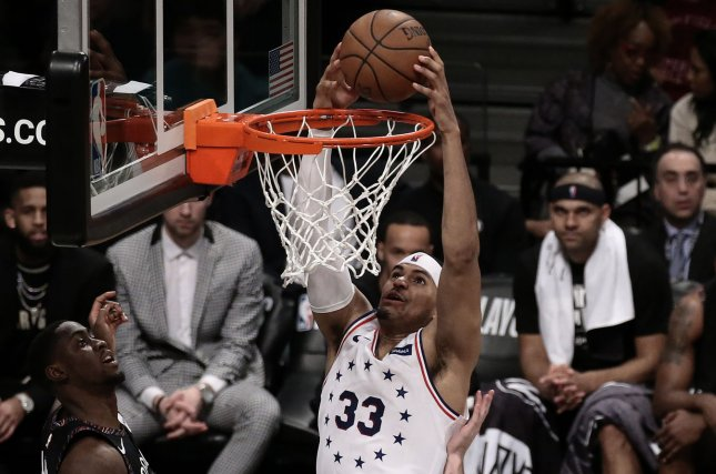 Philadelphia 76ers forward Tobias Harris met with 76ers management and quickly reached an agreement Sunday. File Photo by Peter Foley/UPI