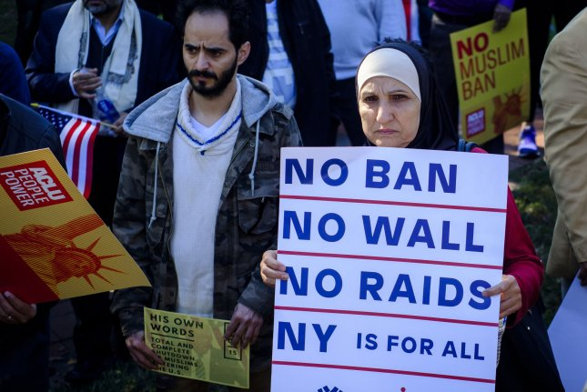 Activists attend a #NoMuslimBanEver rally in Lafayette Park in front of the White House in 2017. File Photo by Pete Marovich/UPI