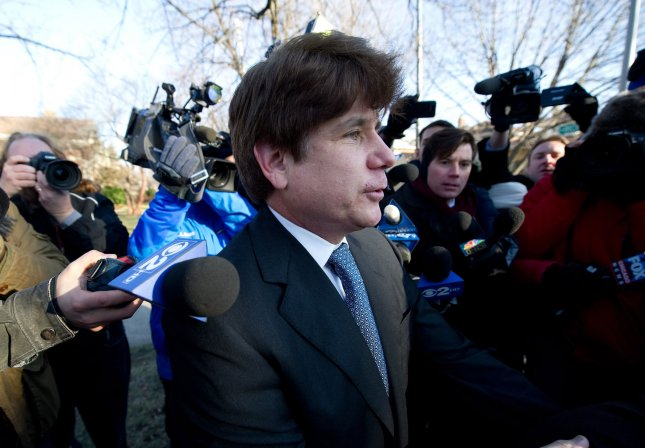 Former Illinois Gov. Rod Blagojevich leaves his house to head to Federal Court for a sentencing hearing on December 7, 2011 in Chicago. Prosecutors are asking for a sentence of 15-20 years as punishment for Blagojevich's conviction on 18 criminal counts involving the attempted sale of a U.S. Senate seat, illegal shakedowns for campaign funds and lying to federal agents UPI/Brian Kersey