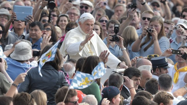 Pope Benedict XVI blesses the crowd during his weekly general audience in St. Peter square at the Vatican, Wednesday, October 3, 2012. The trial of the Pope's butler Paolo Gabriele for stealing Vatican letters continues. UPI/Stefano Spaziani