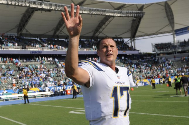 Los Angeles Chargers' Philip Rivers walks off the field at the end of the game against the Miami Dolphins at StuHub Center in Carson, California on September 17, 2017. File photo by Lori Shepler/UPI