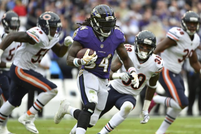 Baltimore Ravens running back Alex Collins (34) runs 30 yards for a first down past Chicago Bears defenders Eddie Jackson (39) and Danny Trevathan (59) during the first half of an NFL game at M&T Bank Stadium in Baltimore, Maryland, October 15, 2017. File photo by David Tulis/UPI