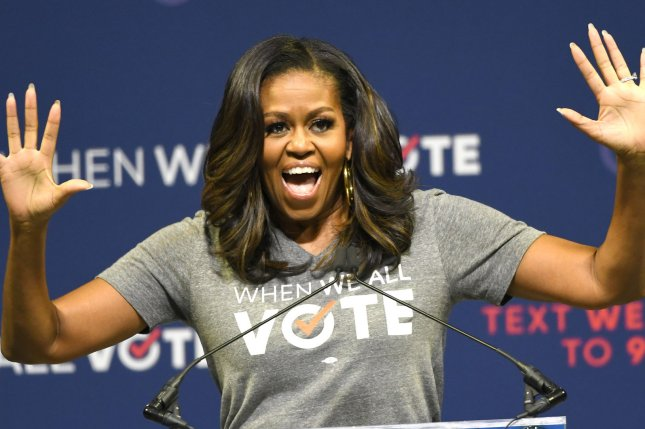 Michelle Obama discussed raising Malia and Sasha, her daughters with Barack Obama, in an interview with Conan O'Brien. File Photo by Gary I. Rothstein/UPI