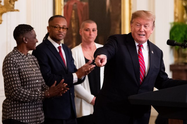 President Donald Trump delivers remarks at the 2019 Prison Reform Summit and First Step Act celebration in the East Room at the White House in Washington, D.C., on Monday. Photo by Kevin Dietsch/UPI