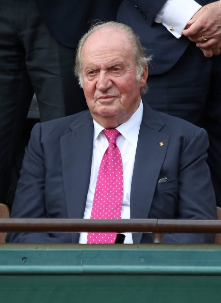 King Juan Carlos of Spain watches the French Open men's final match between Rafael Nadal of Spain and Stan Wawrinka of Switzerland at Roland Garros in Paris on June 11, 2017. On October 30, 1975, with dictator Francisco Franco near death, Prince Juan Carlos assumed power in Spain. Franco died three weeks later. File Photo by David Silpa/UPI