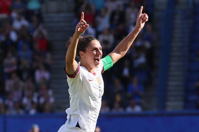 Carli Lloyd's score 23 seconds into the United States Women's National Team's win over Jamaica on Sunday in Houston was the second-fastest score in team history. FIle Photo by David Silpa/UPI