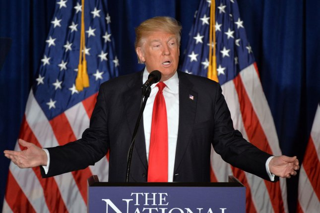 Donald Trump gives a formal address on foreign policy at the Mayflower Hotel in Washington, D.C., on April 27. The speech comes the day after Trump won landslide victories in five northeastern states and declared himself the presumptive Republican nominee. Photo by Kevin Dietsch/UPI