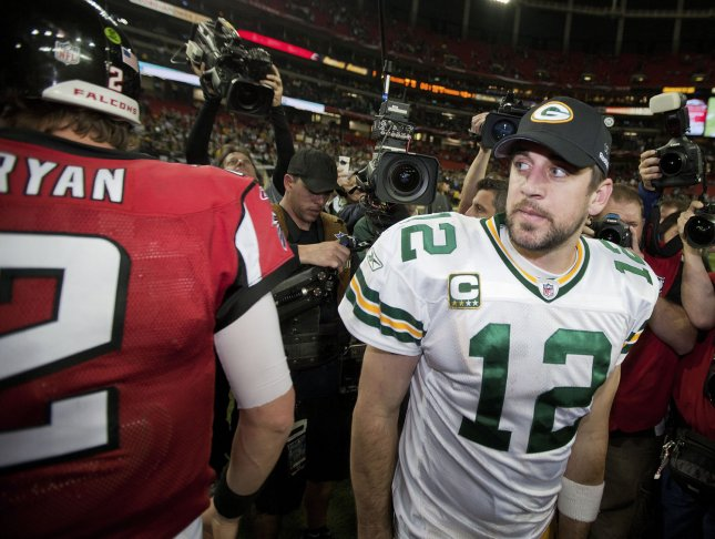 The Falcons enter the game on a five-game winning streak, during which Matt Ryan has thrown 14 touchdown passes and zero interceptions; while Aaron Rodgers has led the Packers to eight consecutive wins with 21 touchdowns and one interception. File Photo by Mark Wallheiser/UPI