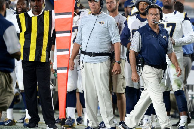 Former Los Angeles Rams head coach Jeff Fisher walks the sidelines during game against the Kansas City Chiefs on August 20 at the Los Angeles Coliseum. File photo by Jon SooHooUPI