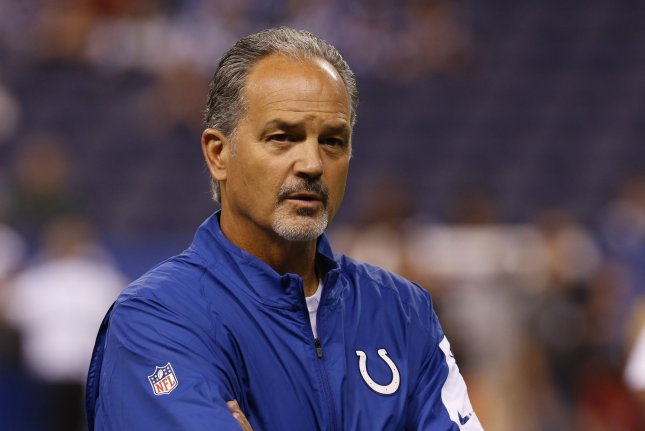 Indianapolis Colts head coach Chuck Pagano watches his team during warm-ups before their game against the New York Jets at Lucas Oil Stadium in Indianapolis, Indiana, September 21, 2015. File photo by John Sommers II/UPI