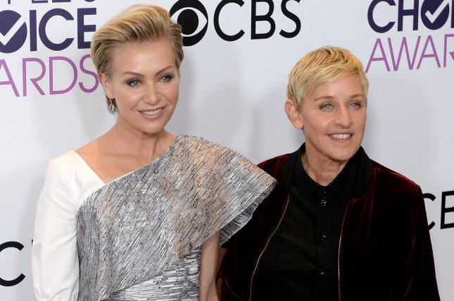 Ellen DeGeneres (R), pictured with Portia De Rossi, celebrated her 60th birthday Friday. File Photo by Jim Ruymen/UPI