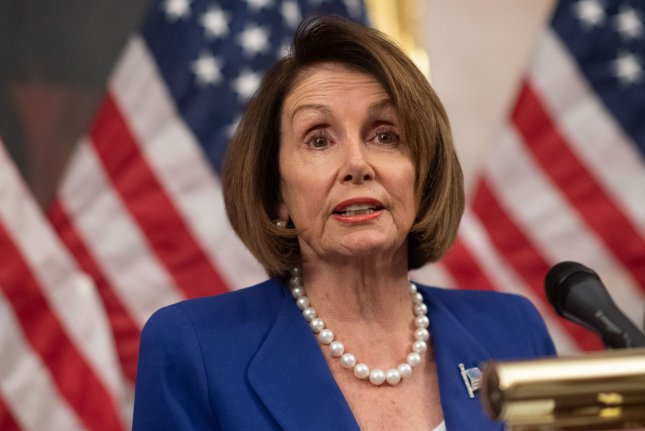Speaker of the House Nancy Pelosi speaks on Capitol Hill on Wednesday. A House resolution condemning President Donald Trump's decision to withdraw U.S. support from Syrian Kurds drew bipartisan support. Photo by Kevin Dietsch/UPI