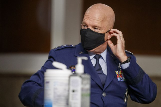Chief of Space Operations at U.S. Space Force Gen. John Raymond prepares to testify before a Senate Armed Services Committee hearing in May. The Space Force on Tuesday detailed the hierarchy of the newly formed branch. Pool Photo by Shawn Thew/UPI