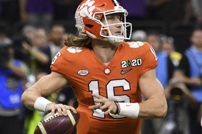 Clemson quarterback Trevor Lawrence threw passes Friday in front of various NFL decision-makers. File Photo by Pat Benic/UPI