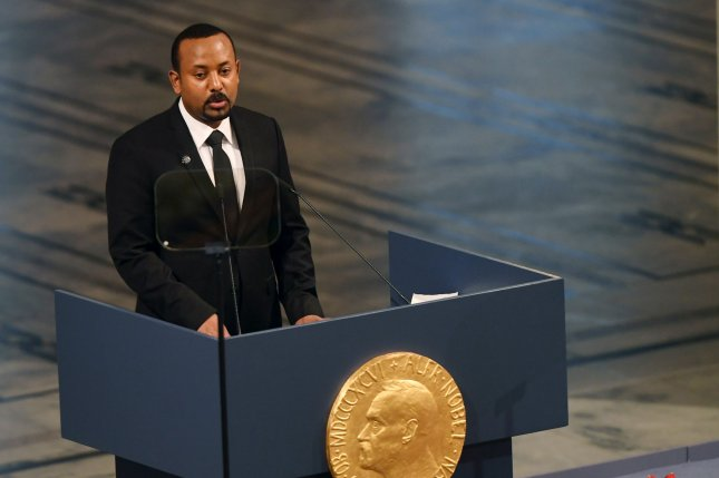 Ethiopian Prime Minister Abiy Ahmed Ali attends the Nobel Peace Prize ceremony at City Hall in Oslo, Norway, on December 10, 2019. His government is accused of conducting an airstrike on a village in Tigray Tuesday. File Photo by Rune Hellestad/ UPI