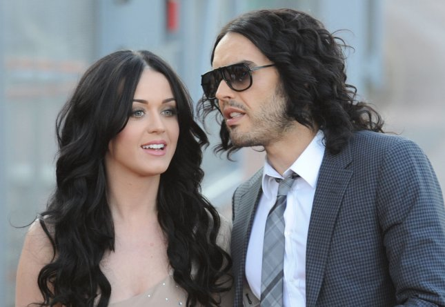 British actor/comedian Russell Brand and American singer Katy Perry attend the premiere of Arthur at Cineworld, O2 Arena in London on April 19, 2011. UPI/Rune Hellestad