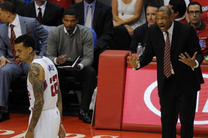 Los Angeles Clippers coach Doc Rivers, right, yells at Matt Barnes, left. UPI/Lori Shepler