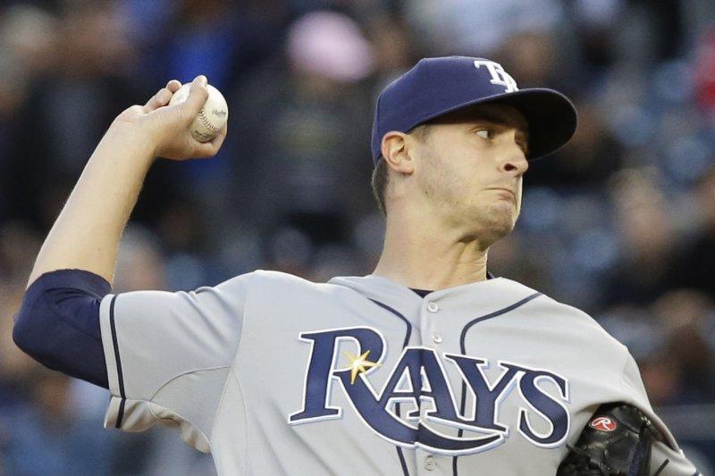 Tampa Bay Rays starting pitcher Jake Odorizzi. Photo by John Angelillo/UPI