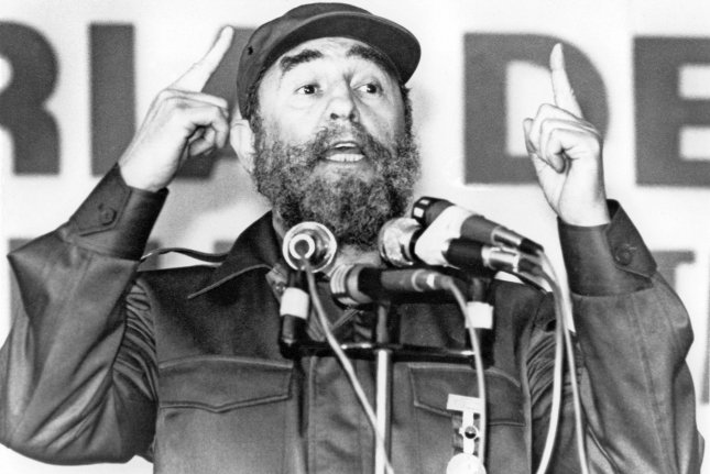 Former Cuban President Fidel Castro is pictured in a January 11, 1985, file photo in Timal, Nicaragua, where he was addressing Sandinista leaders and Cuban workers at Central America's largest sugar plantation. Castro died Friday, his brother announced on Cuban state television. UPI File Photo