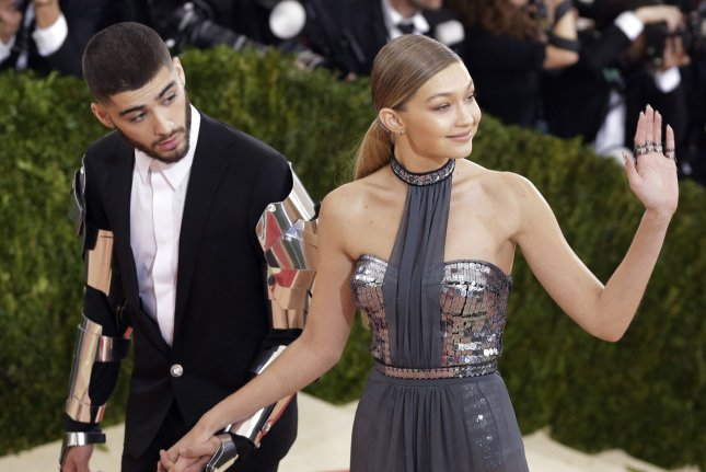 Gigi Hadid (R) and Zayn Malik at the Costume Institute Benefit at the Metropolitan Museum of Art on May 2, 2016. File Photo by John Angelillo/UPI